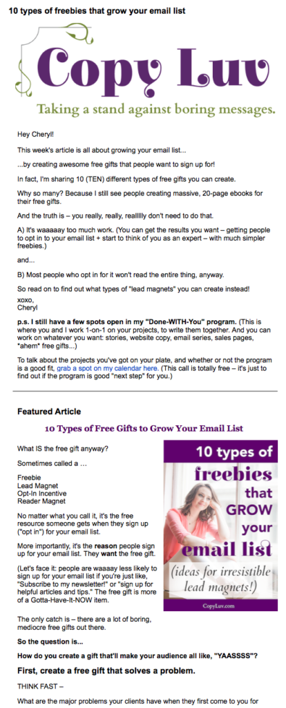 Example screenshot of a newsletter from Cheryl's Copy Luv newsletters