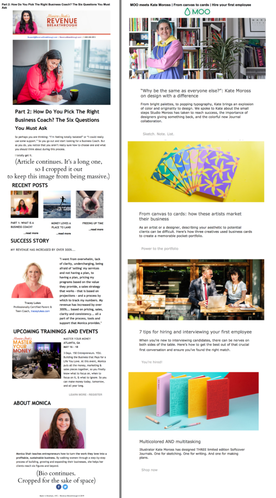 Examples of two email newsletters: Monica Shah and MOO business cards